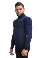 Sweater with embossed stripes