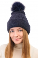 Cashmere hat with pompon